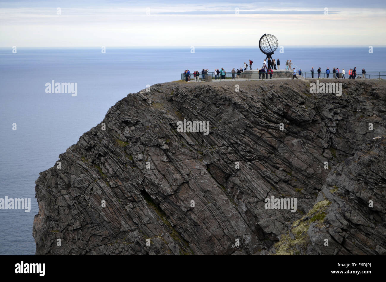 Nordkapp is the farthest place north that can be reached by car. It is 307metres high cliff reaching above the Arctic - Stock Image