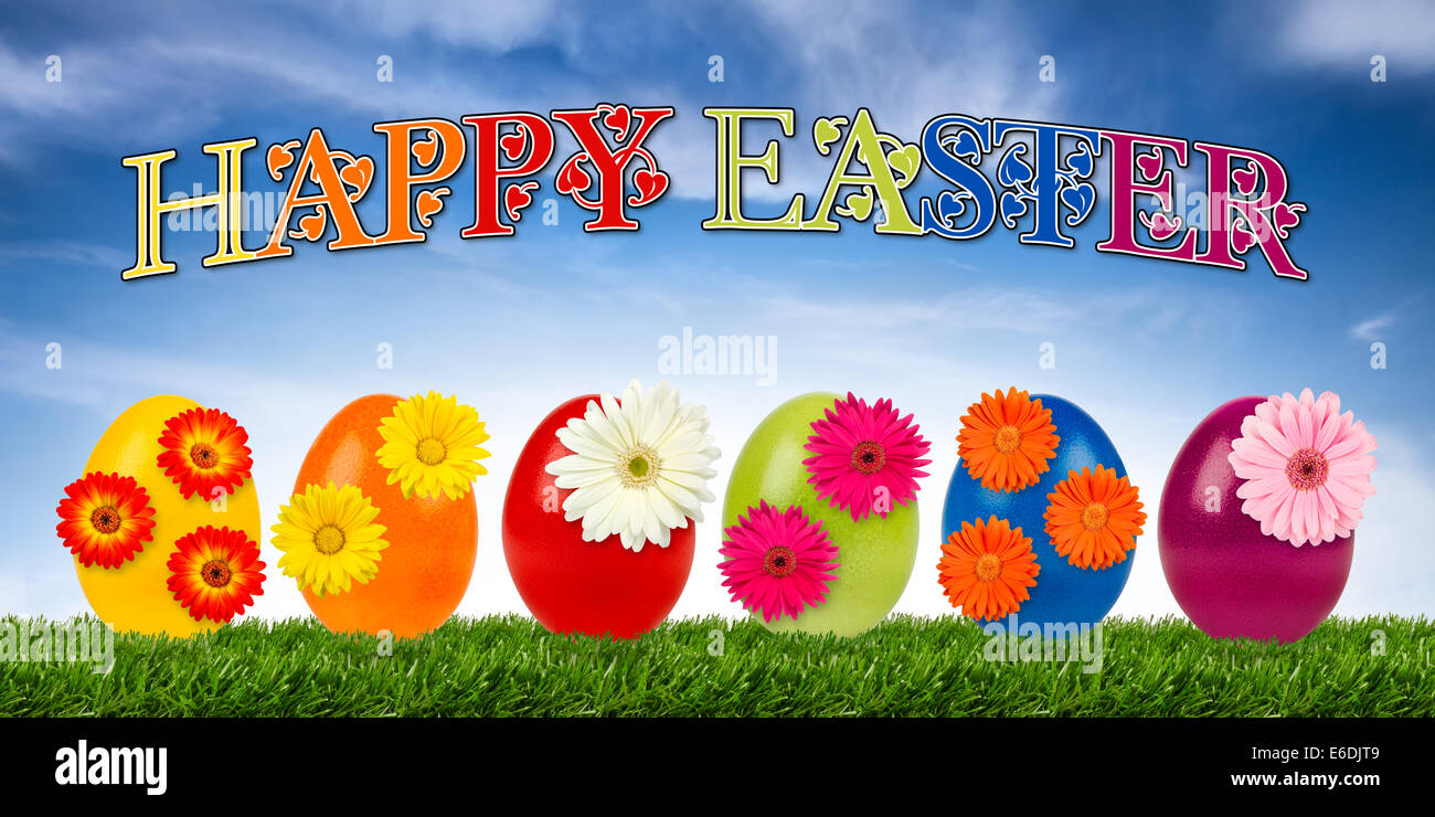 row of decorated easter eggs Stock Photo