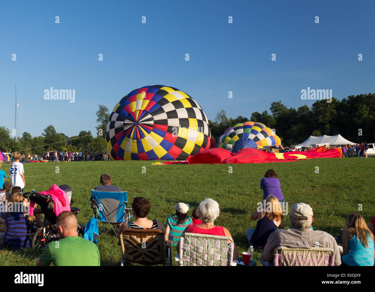 METAMORA, MICHIGAN – AUGUST 24 2013: Hot air balloons launch at the annual Metamora Country Days and Hot Air Balloon Stock Photo