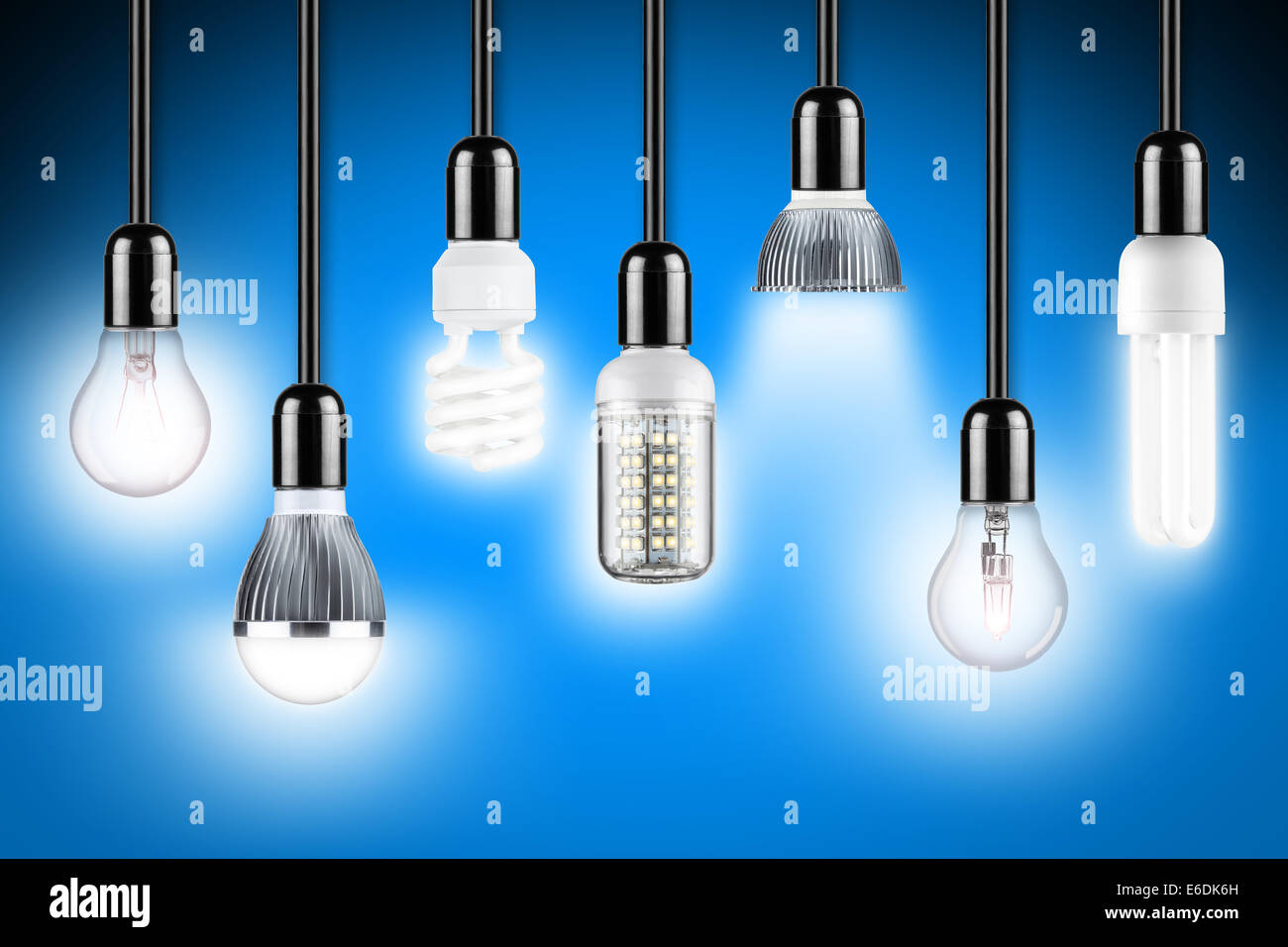 Row Of Different Types Of Glowing Light Bulbs Home Design Ideas