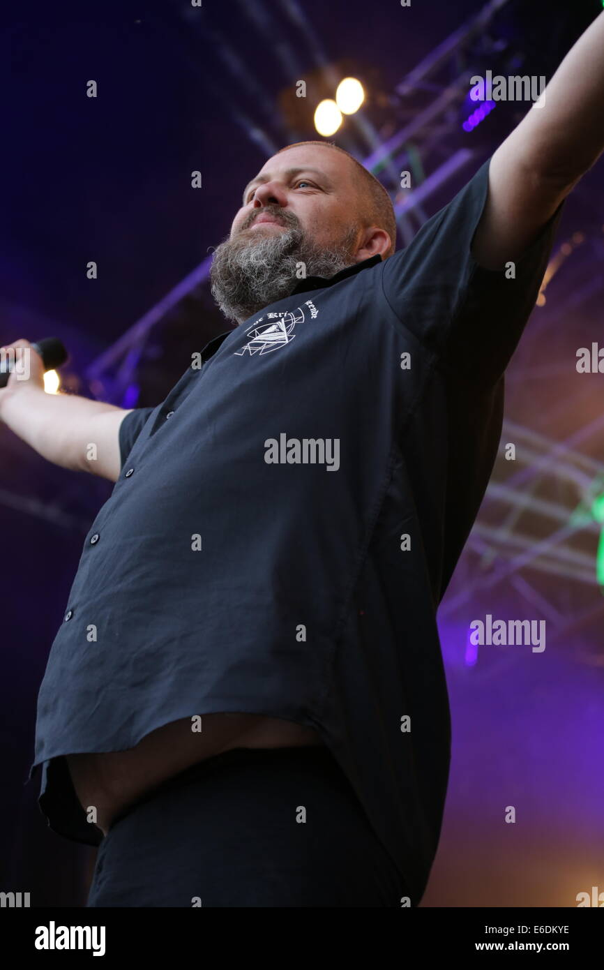 Vocalist on stage - Stock Image