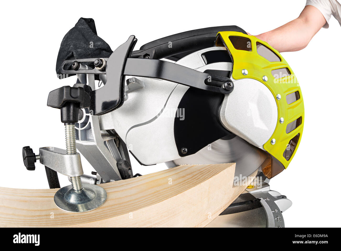 miter saw cutting a wooden beam Stock Photo
