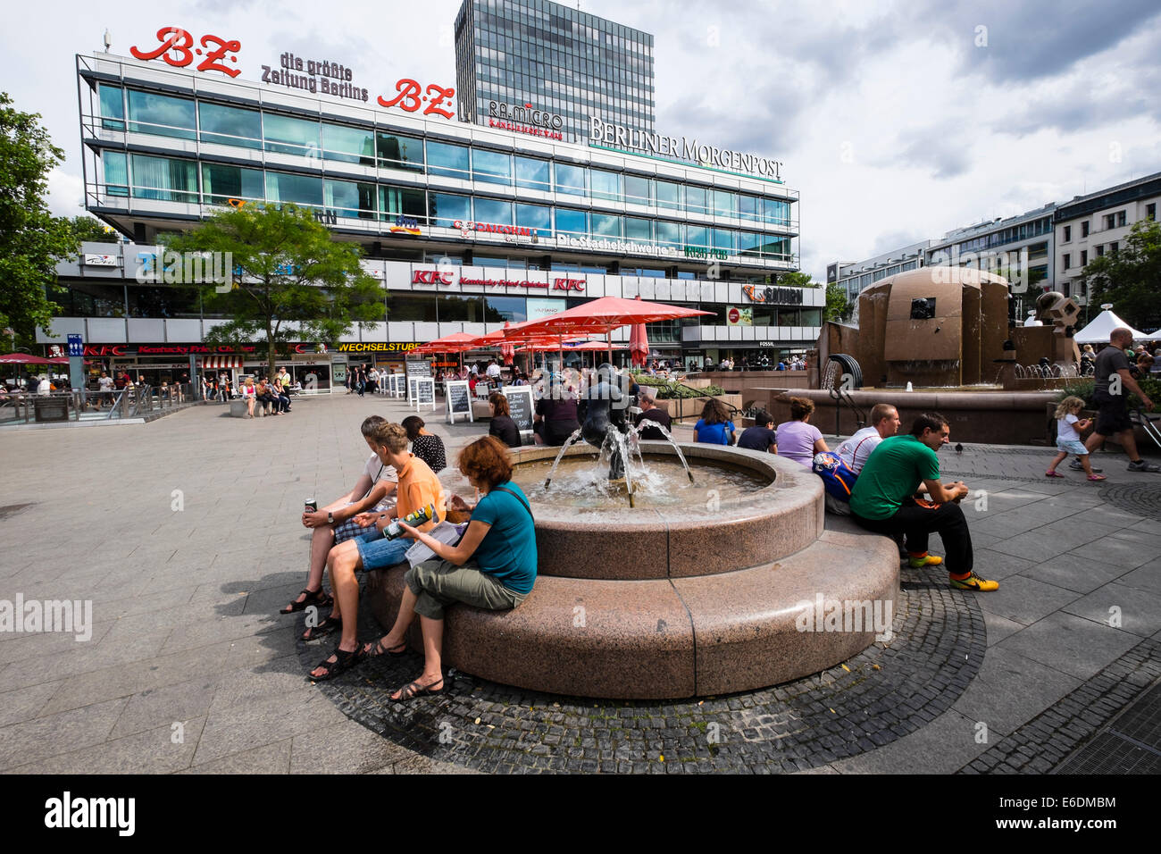 Fountain in square beside Europa Center in Charlottenurg Berlin Germany - Stock Image