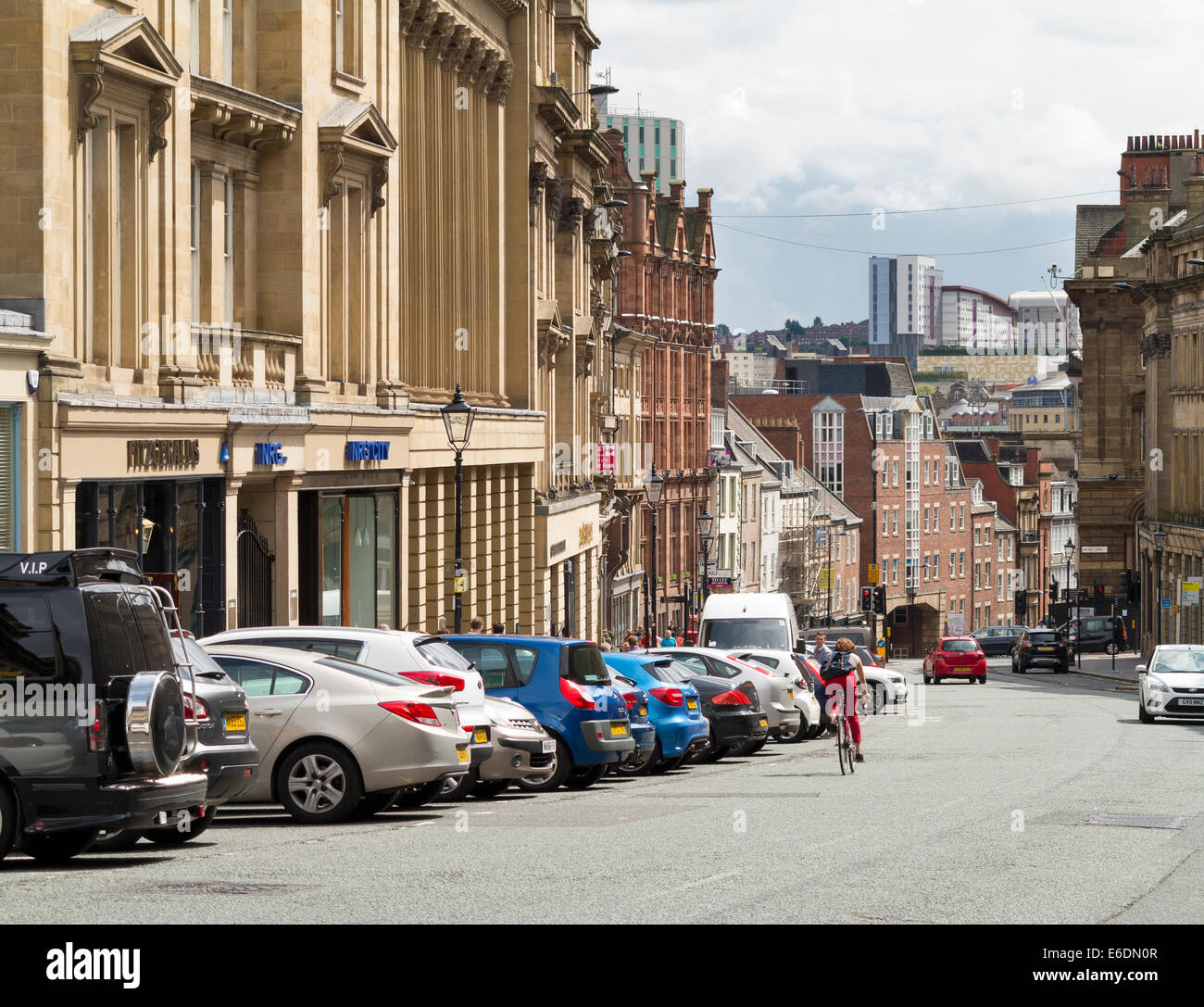 Grey Street and looking down the hill to Dean Street, Newcastle - Stock Image