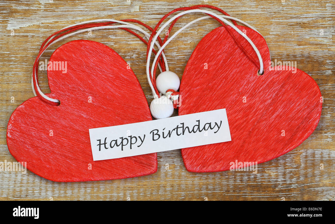 Happy Birthday Card With Two Red Wooden Hearts Stock Photo 72831458