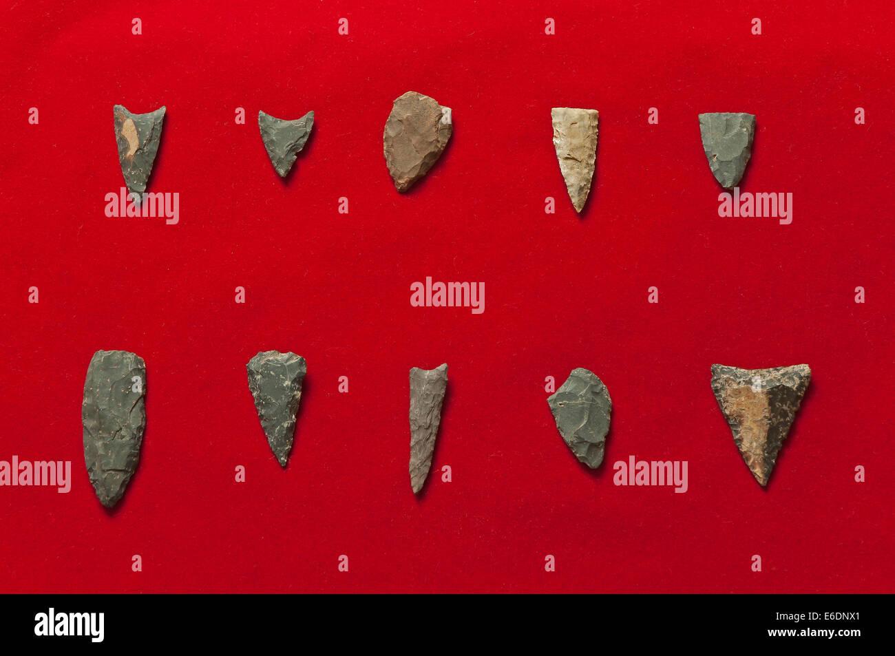 Neolithic arrowheads - 2500 BC, archaeological site of Cabezo Jure, Alosno, Huelva province, Region of Andalusia, - Stock Image