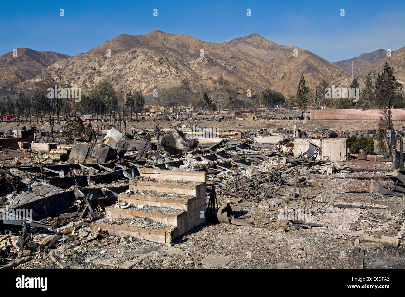 Oakridge Trailer Park devastated after Sylmar Wildfire in November 2008, California, USA. Stock Photo