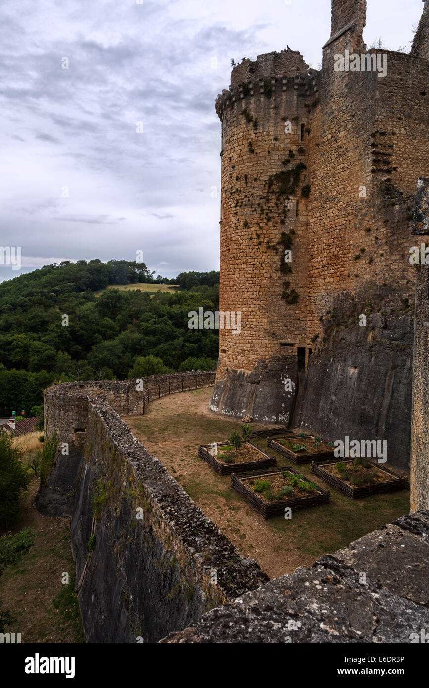 The historic monument of Bonaquil Castle, an example of military architecture of medieval France. - Stock Image