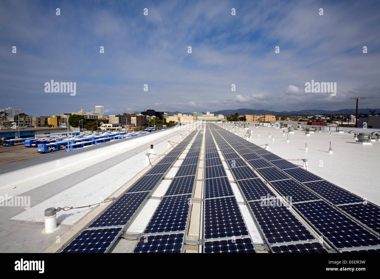 82 Kilowatt Solar Array on roof of Big Blue Bus Terminal, Installation by Martifer Solar USA, Santa Monica, California, - Stock Image