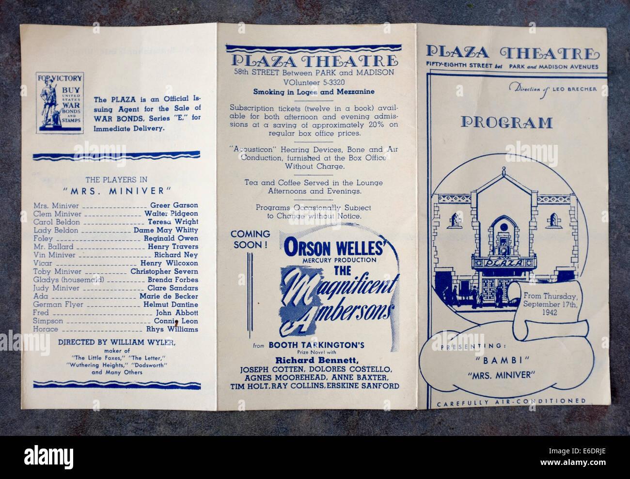 Theatre Program Stock Photos Images Alamy 1940s Old Fuse Box Vintage New York City Plaza Cinema Image