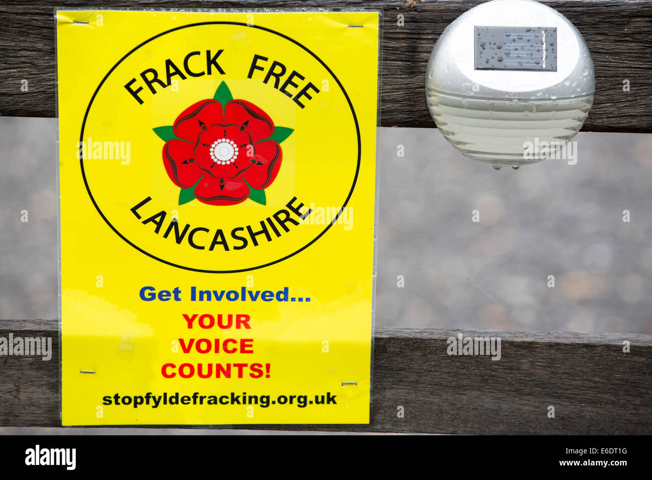 A protest banner against fracking on a house gate near a farm site at Little Plumpton near Blackpool, Lancashire, - Stock Image