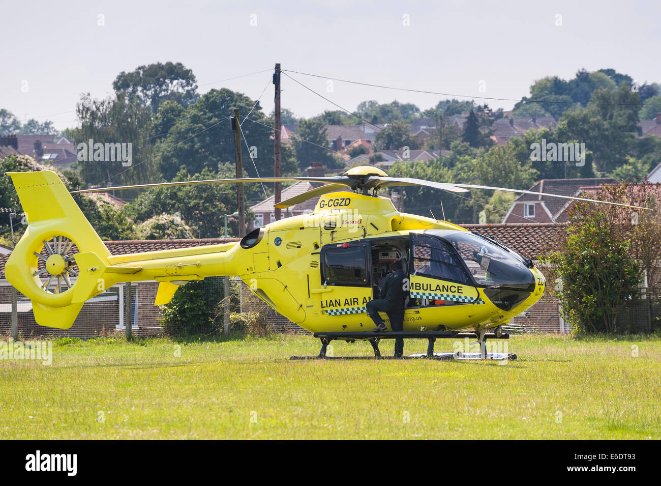 The Air Ambulance landed on a school playing field when dealing with a call in Beccles , Suffolk , England , Britain - Stock Image