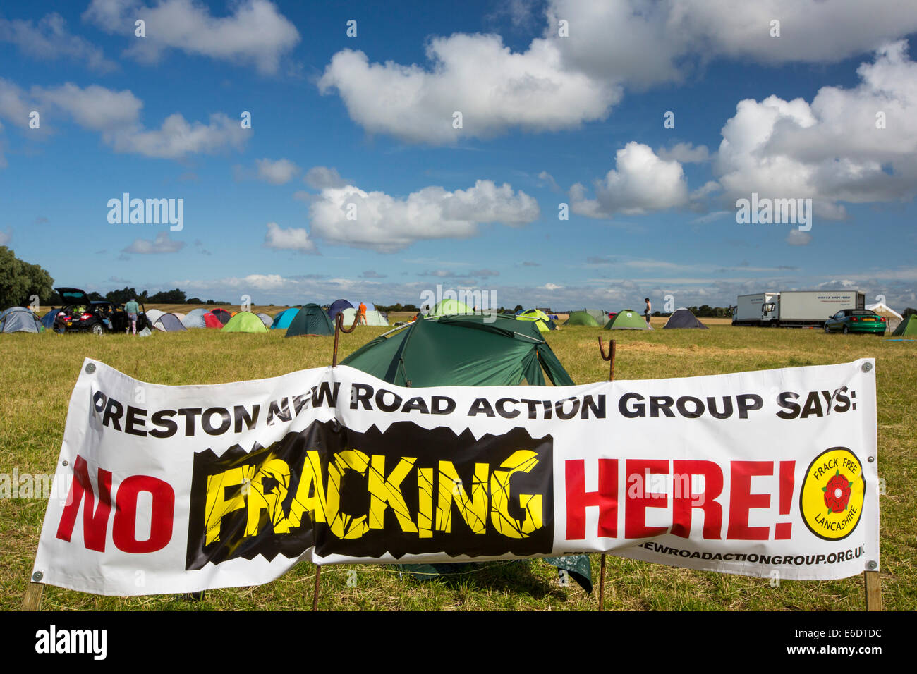 Protest banners against fracking at a farm site at Little Plumpton near Blackpool, Lancashire, UK, where the council - Stock Image