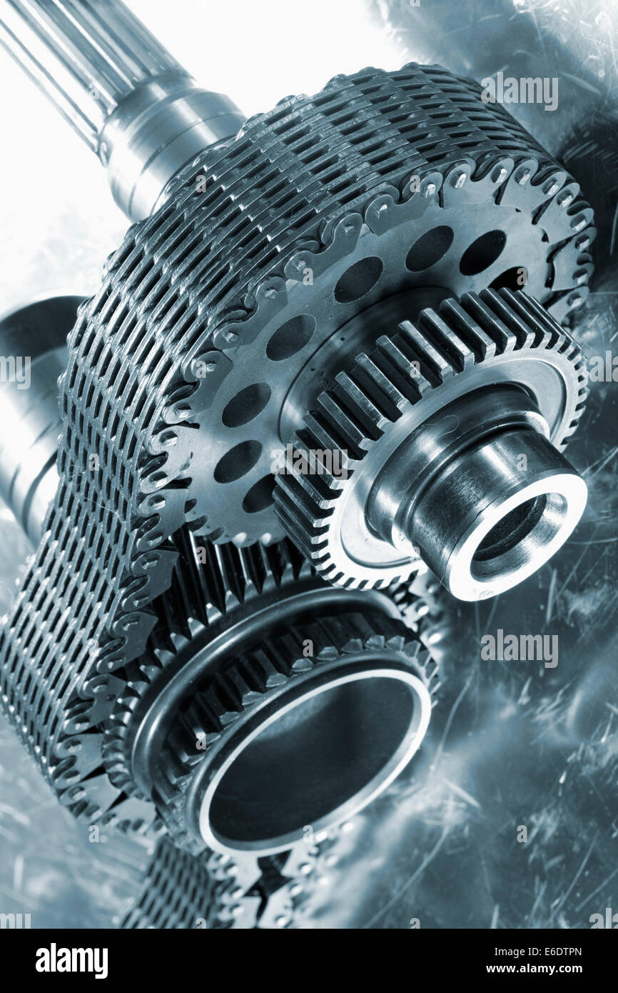 cogwheels powered by timing chain - Stock Image