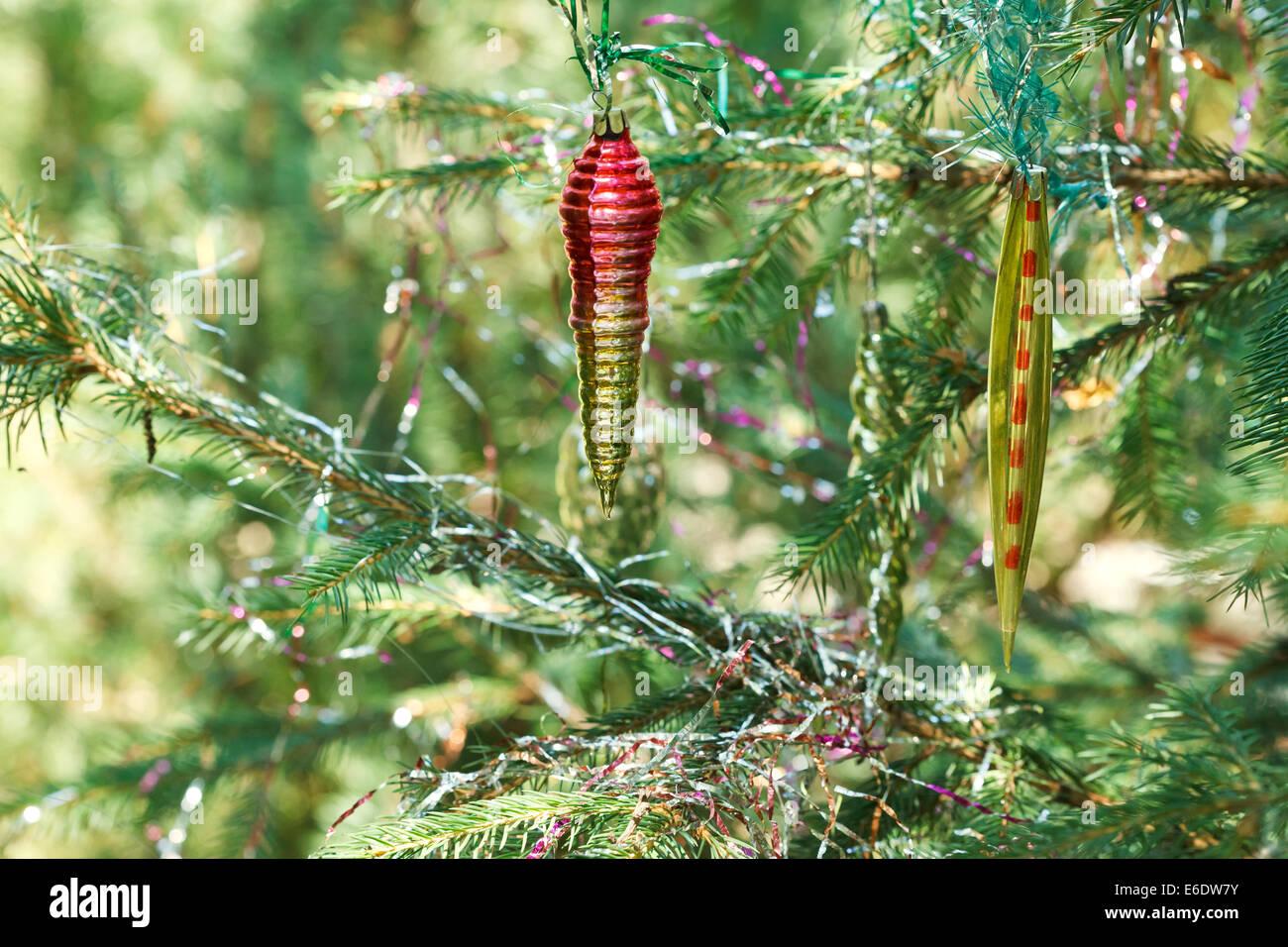 vintage glass icicles christmas tree decoration close up stock image - Icicles For Christmas Tree