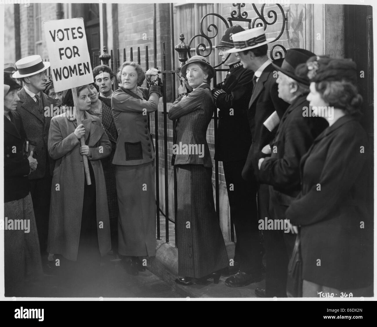 Women's Voting Rights Protest, on-set of the British Film, 'Fame is the Spur', 1947 - Stock Image