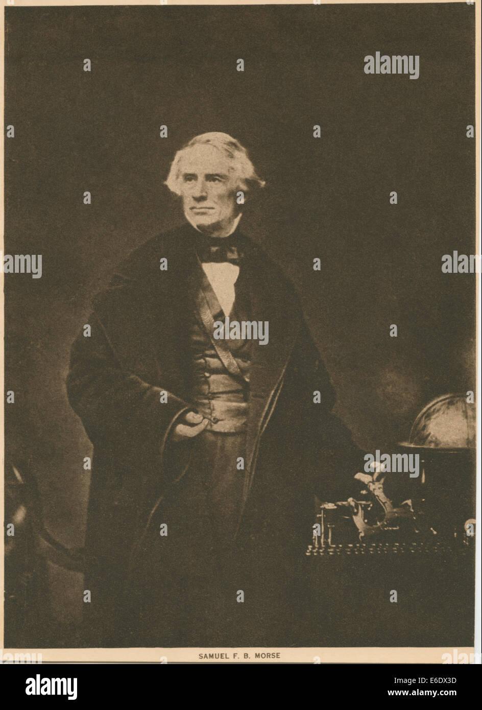 Samuel F. B. Morse, Portrait with Hand on Telegraph, circa 1845 - Stock Image
