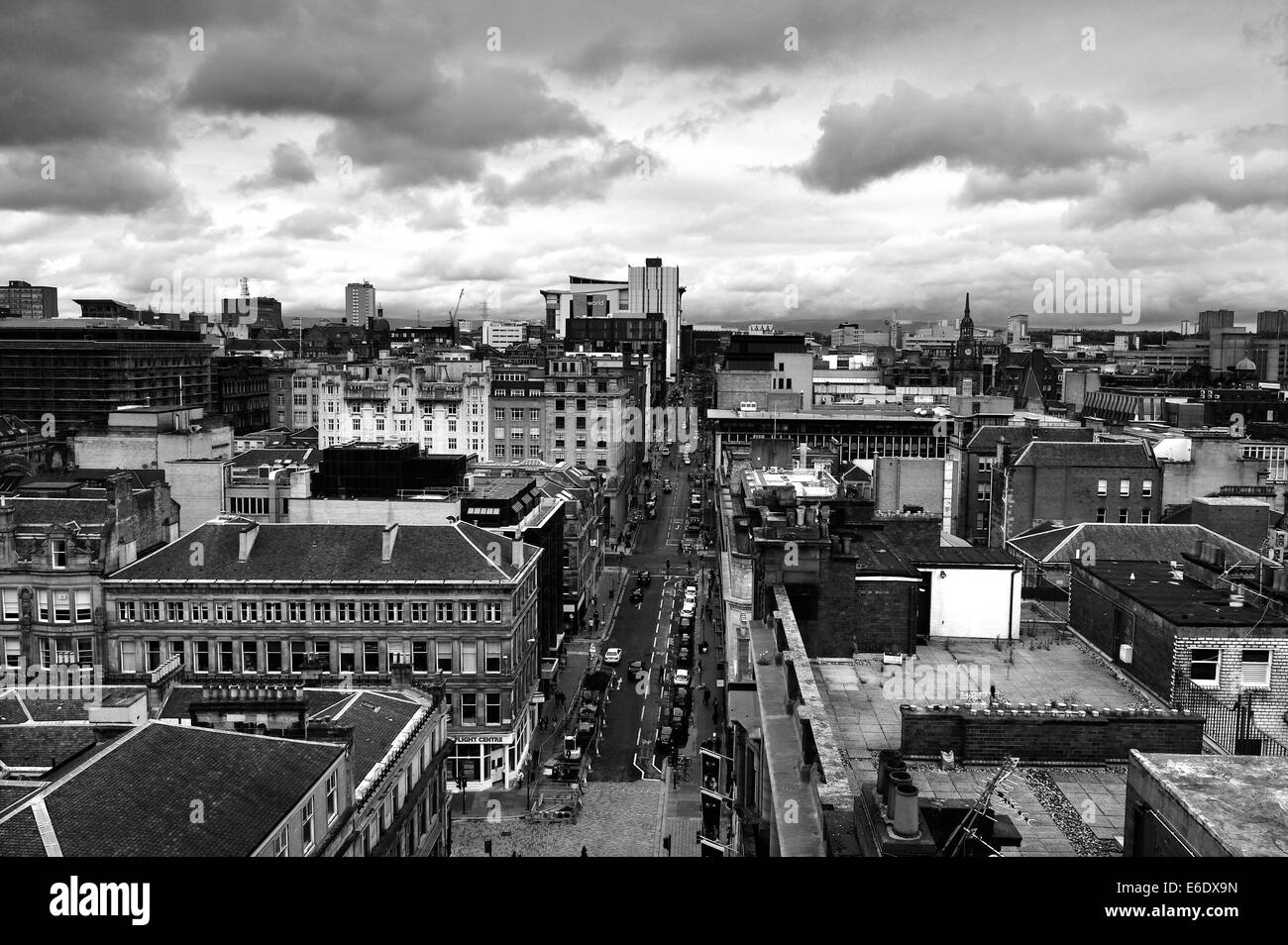 A view of Glasgow city centre from above - Stock Image