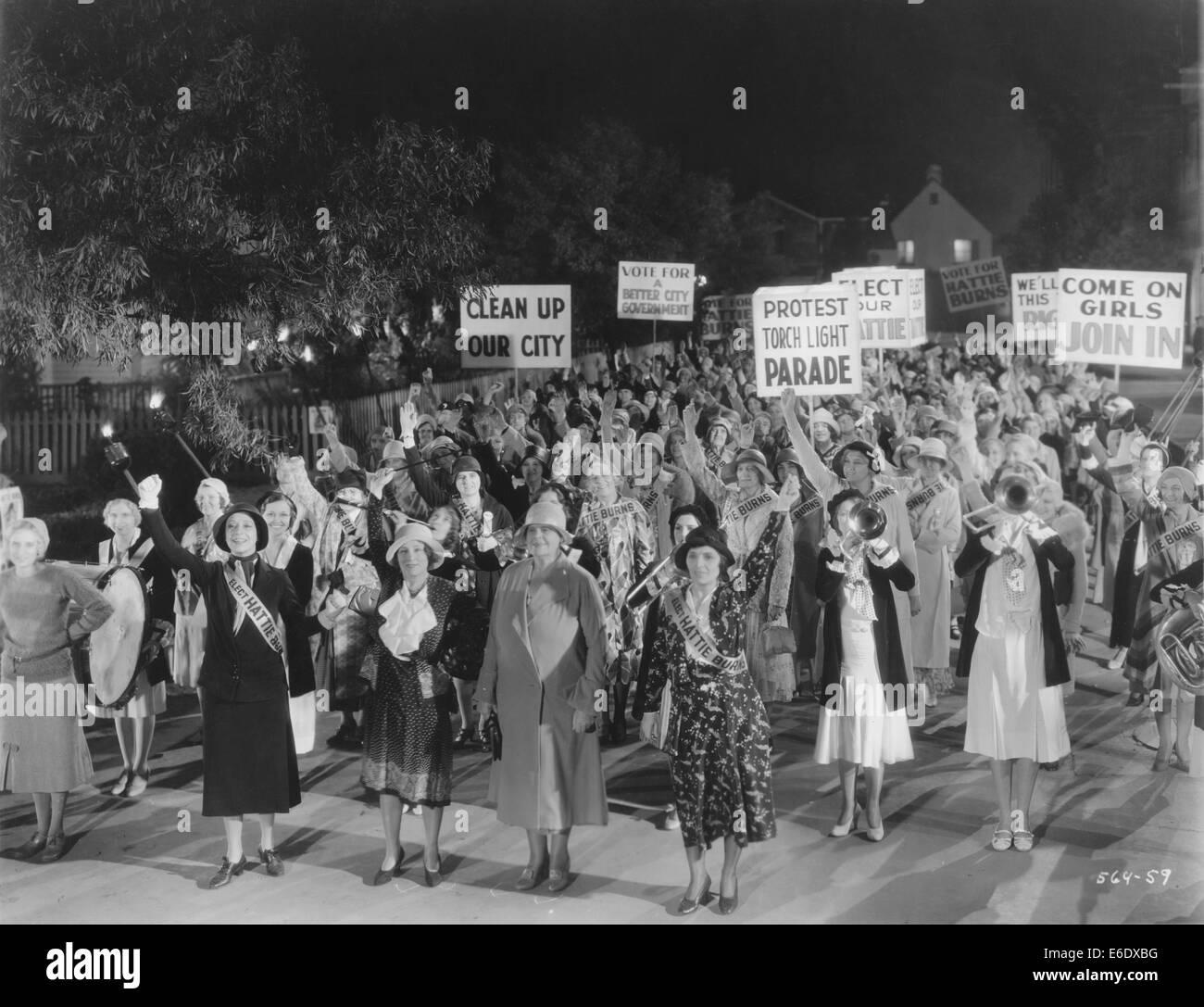 Marie Dressler (center), on-set of the Film, 'Politics', 1931 - Stock Image