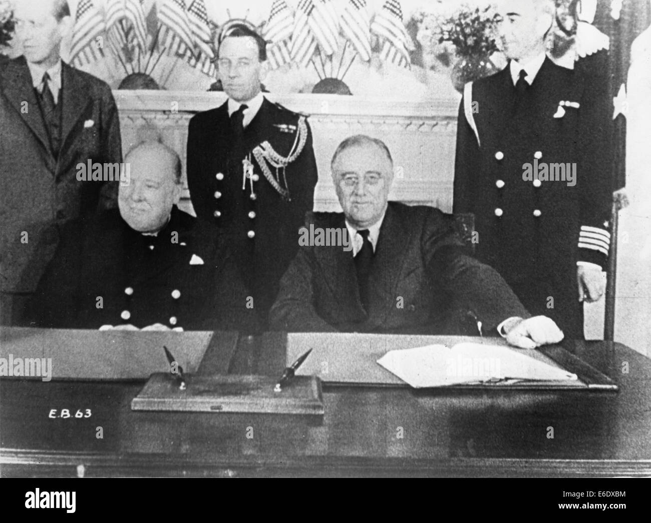 Prime Minister Winston Churchill (L) and President Franklin D. Roosevelt at Conference Table, White House, Washington, - Stock Image