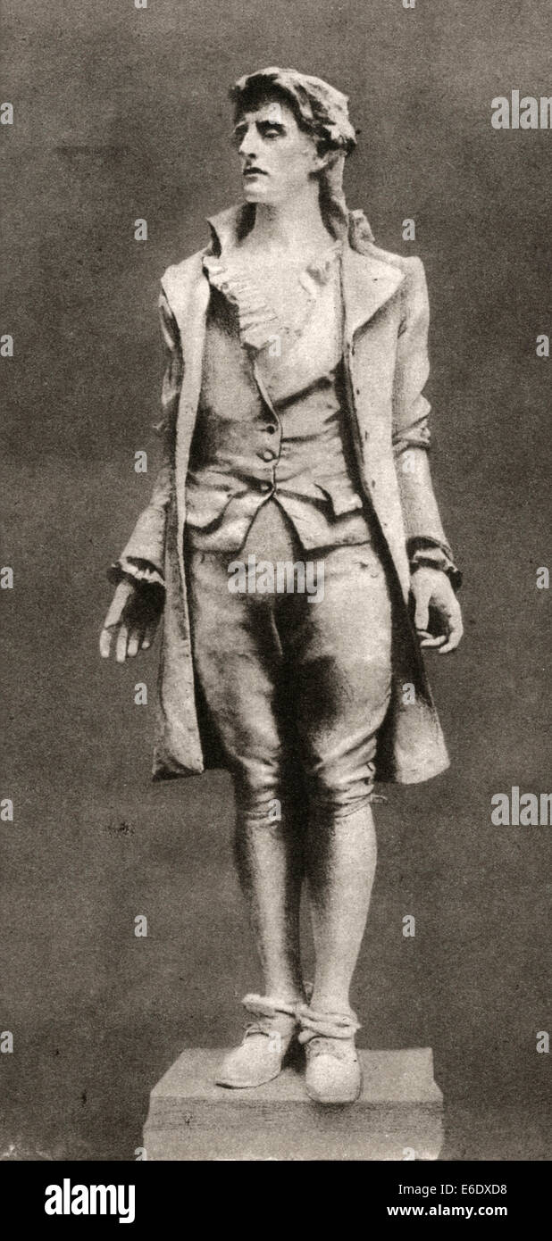 Nathan Hale, Soldier and Patriot During American Revolutionary War, Sculpture by Frederic MacMonnies - Stock Image
