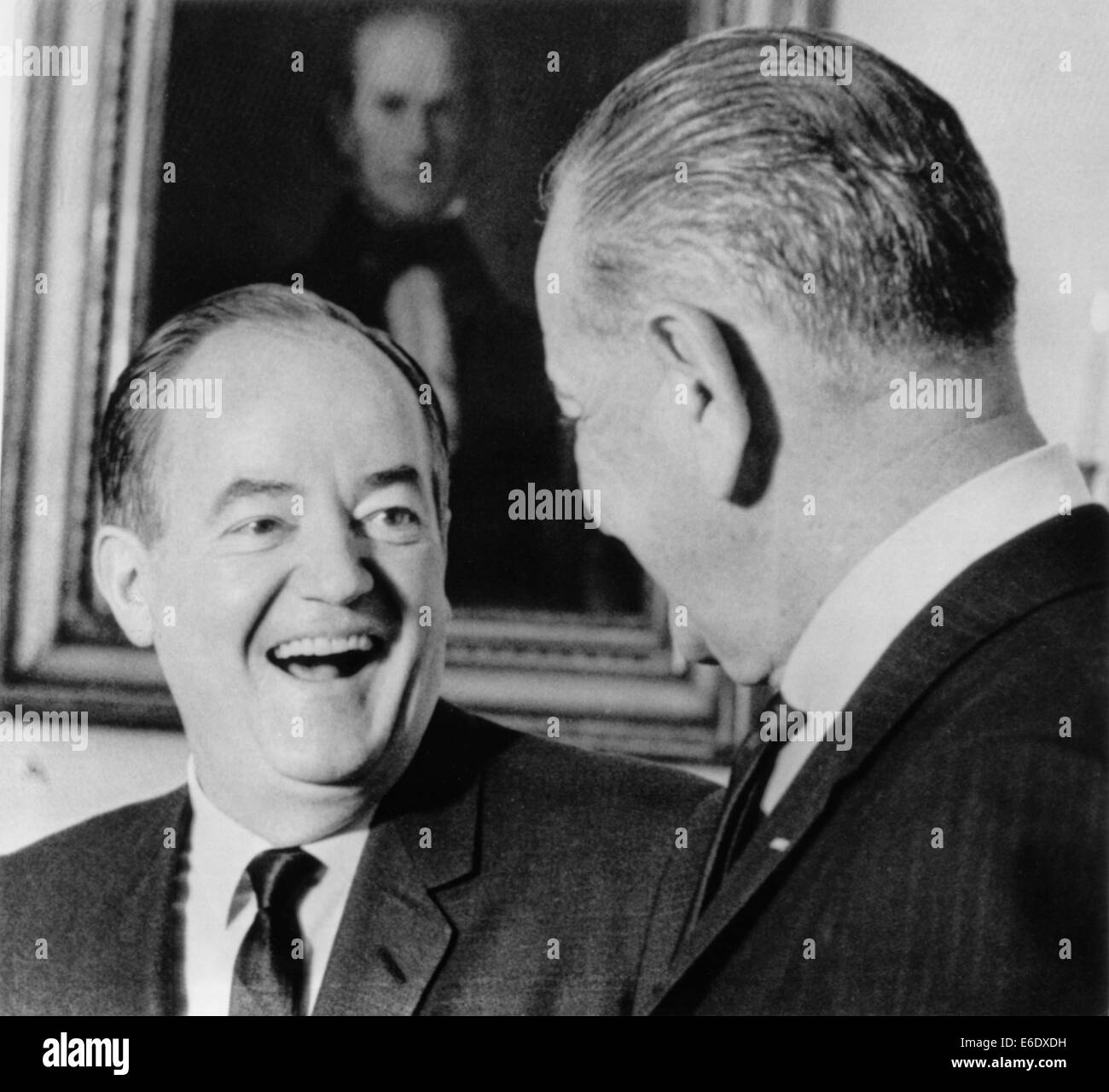 Vice President Hubert Humphrey, Observing his 55th Birthday, Being Congratulated by President Lyndon Johnson at - Stock Image