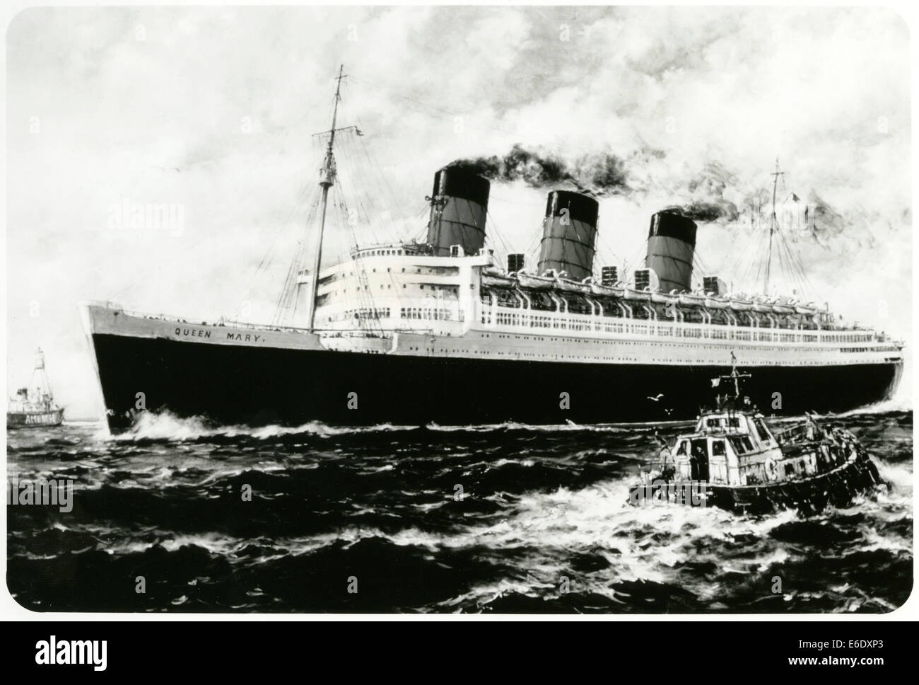 Cunard-White Star Line Ocean Liner, Queen Mary, photo from Painting of Maiden Voyage by Artist Jack Gray - Stock Image