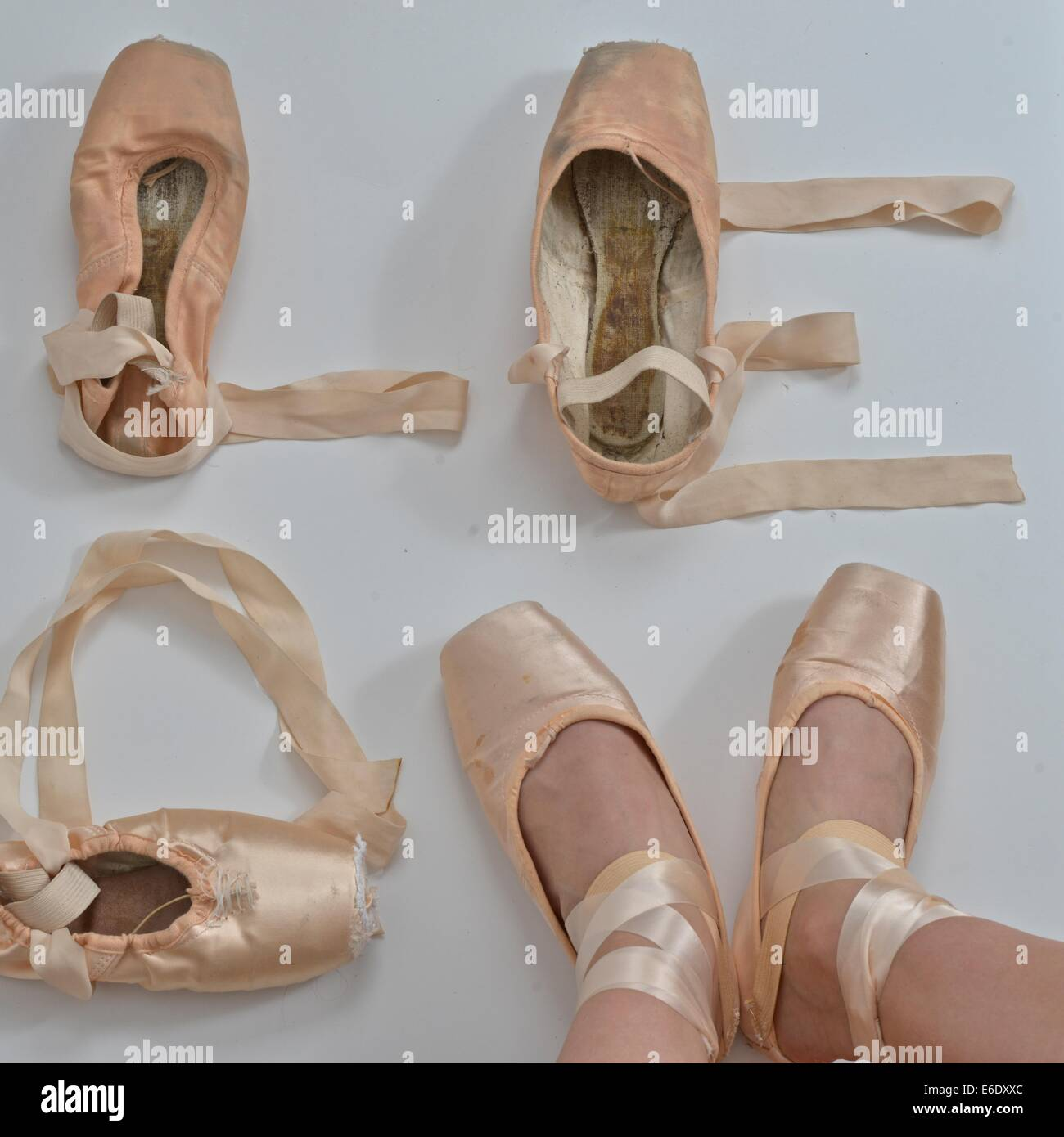 Love written with pointe ballet shoes. - Stock Image