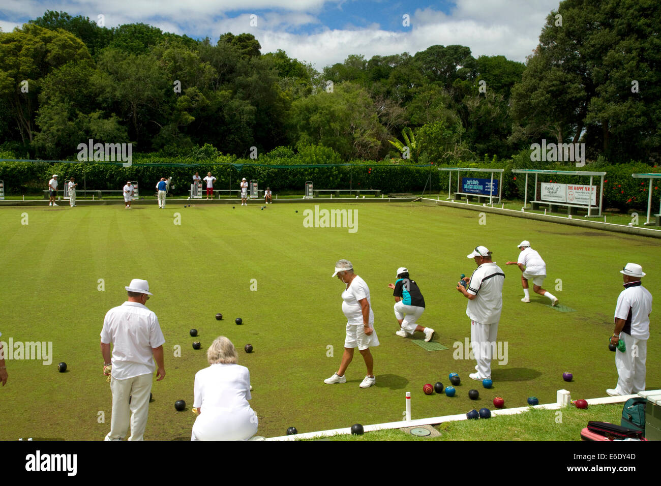 Lawn bowling at Waitangi in the Bay of Islands, North Island, New Zealand. - Stock Image