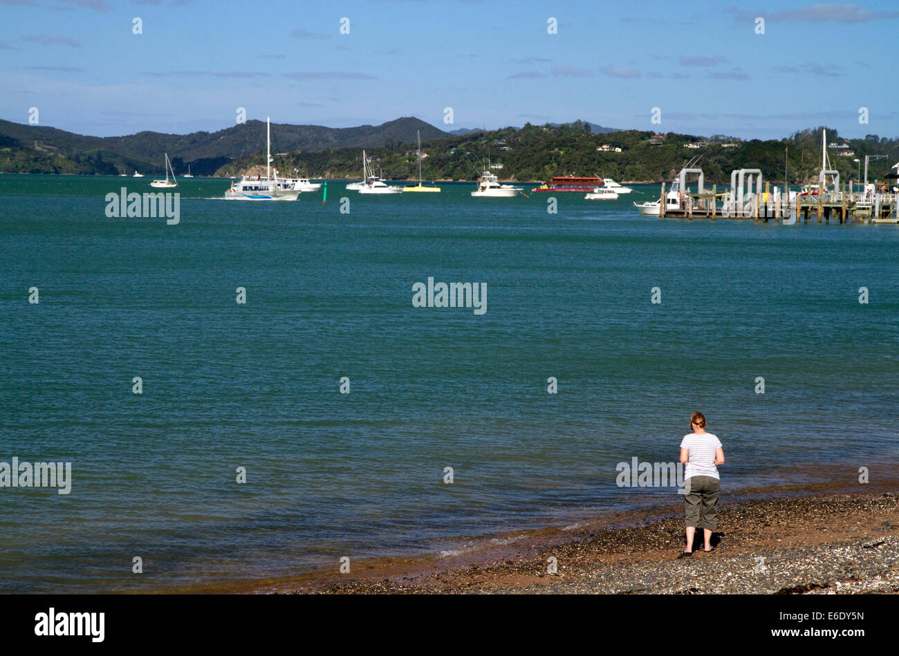 Bay of Islands at the town of Paihia, North Island, New Zealand. Stock Photo