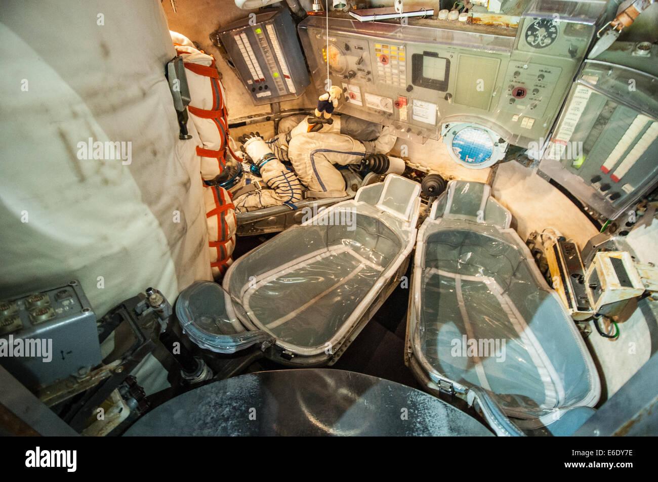Inside Soyuz reentry module - Stock Image