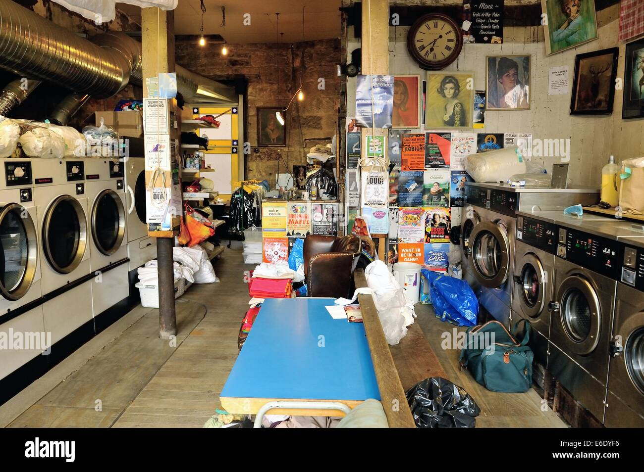 Interior of laundrette - Stock Image
