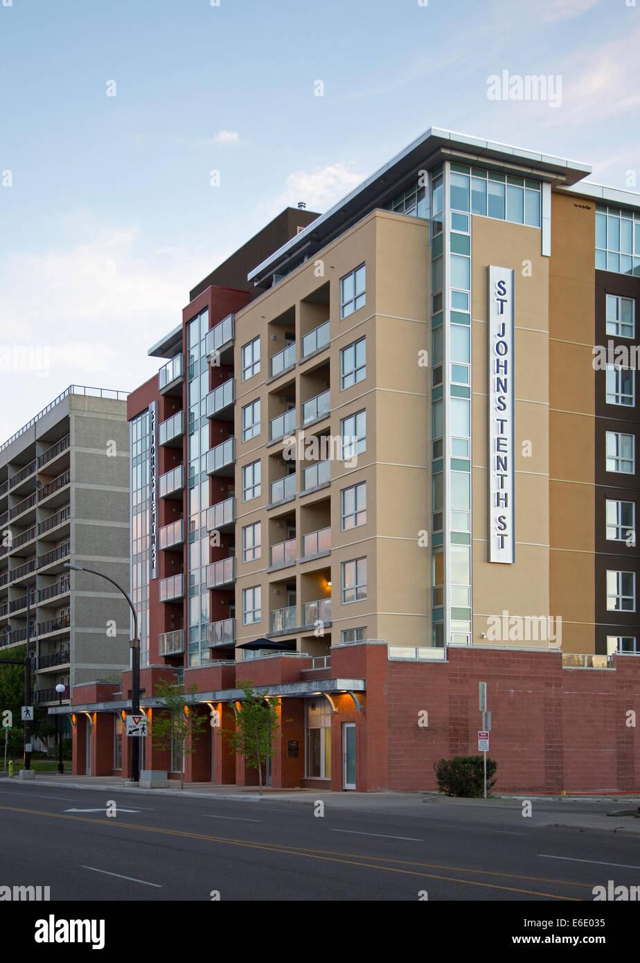 St. John's Tenth Street new condo development in Calgary - Stock Image