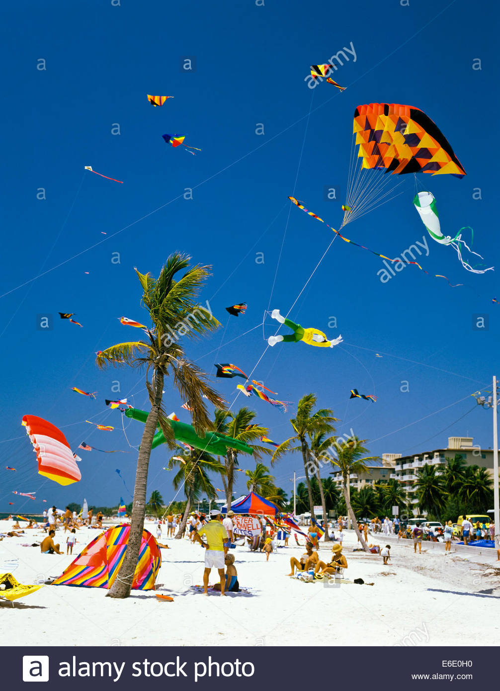 Kite Festival part of Conch Republic Independence Celebration on Smathers Beach in the Florida Keys at Key West - Stock Image