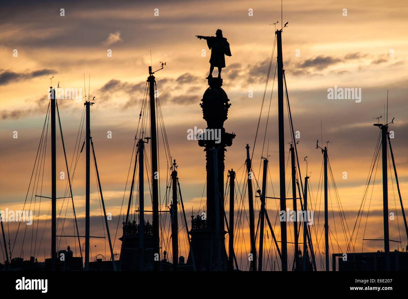 Monument of Colon in Barcelona port - Stock Image