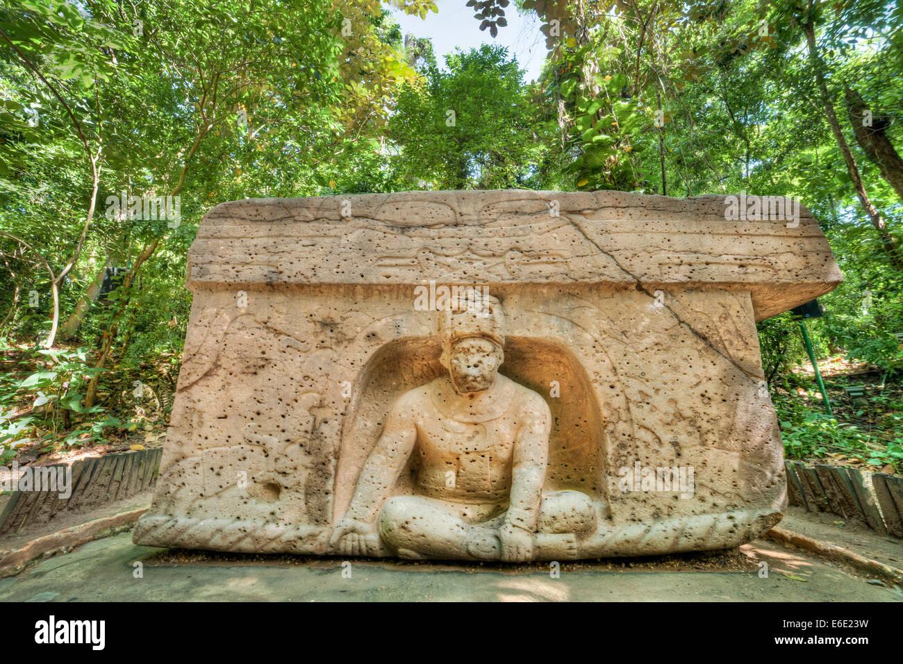 The Olmeca stone carving named Triumphal Altar in La Venta Park in Villahermosa, Tabasco, Mexico. - Stock Image