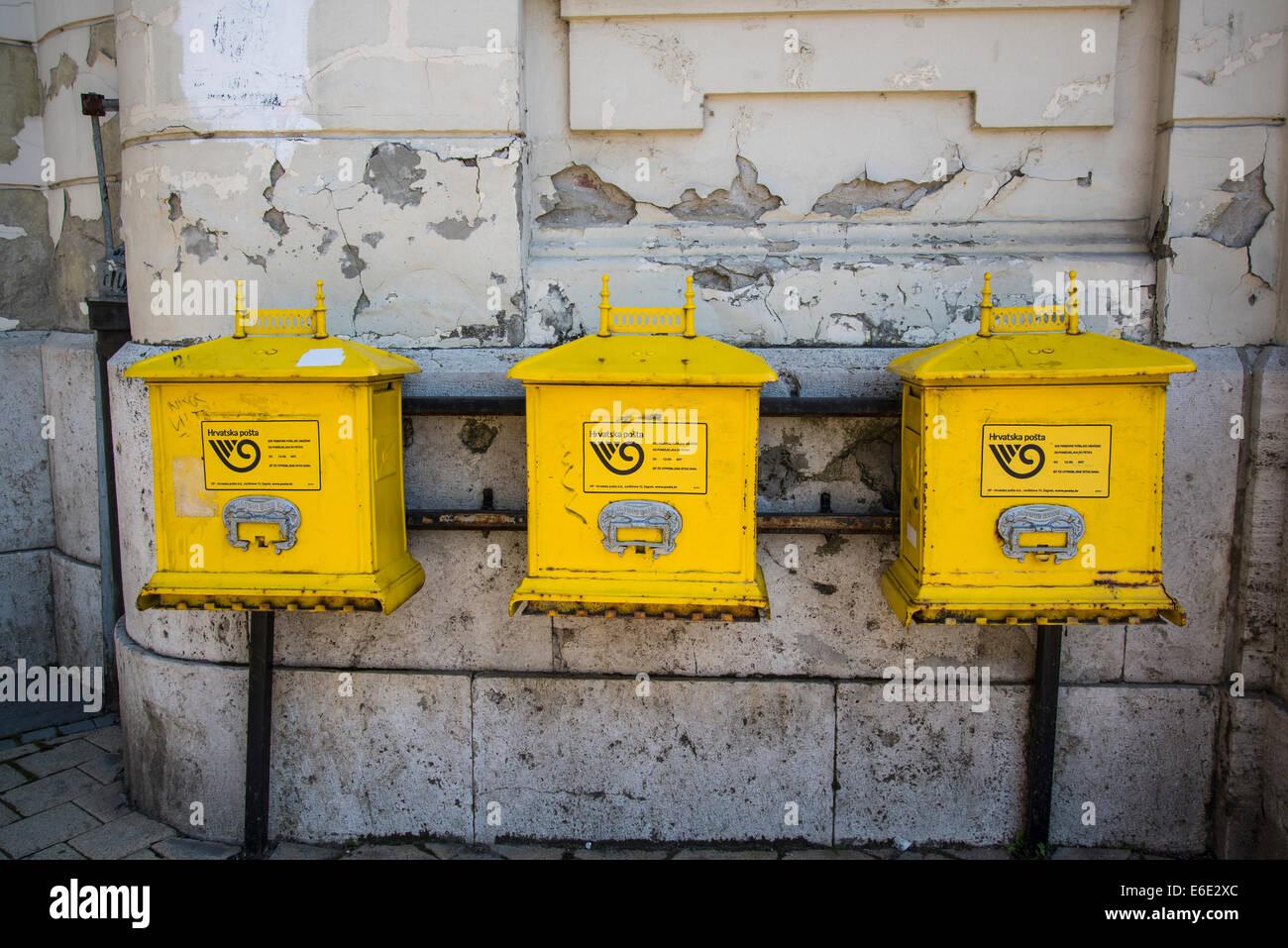 Three postboxes, Osijek, Slavonia, Croatia - Stock Image