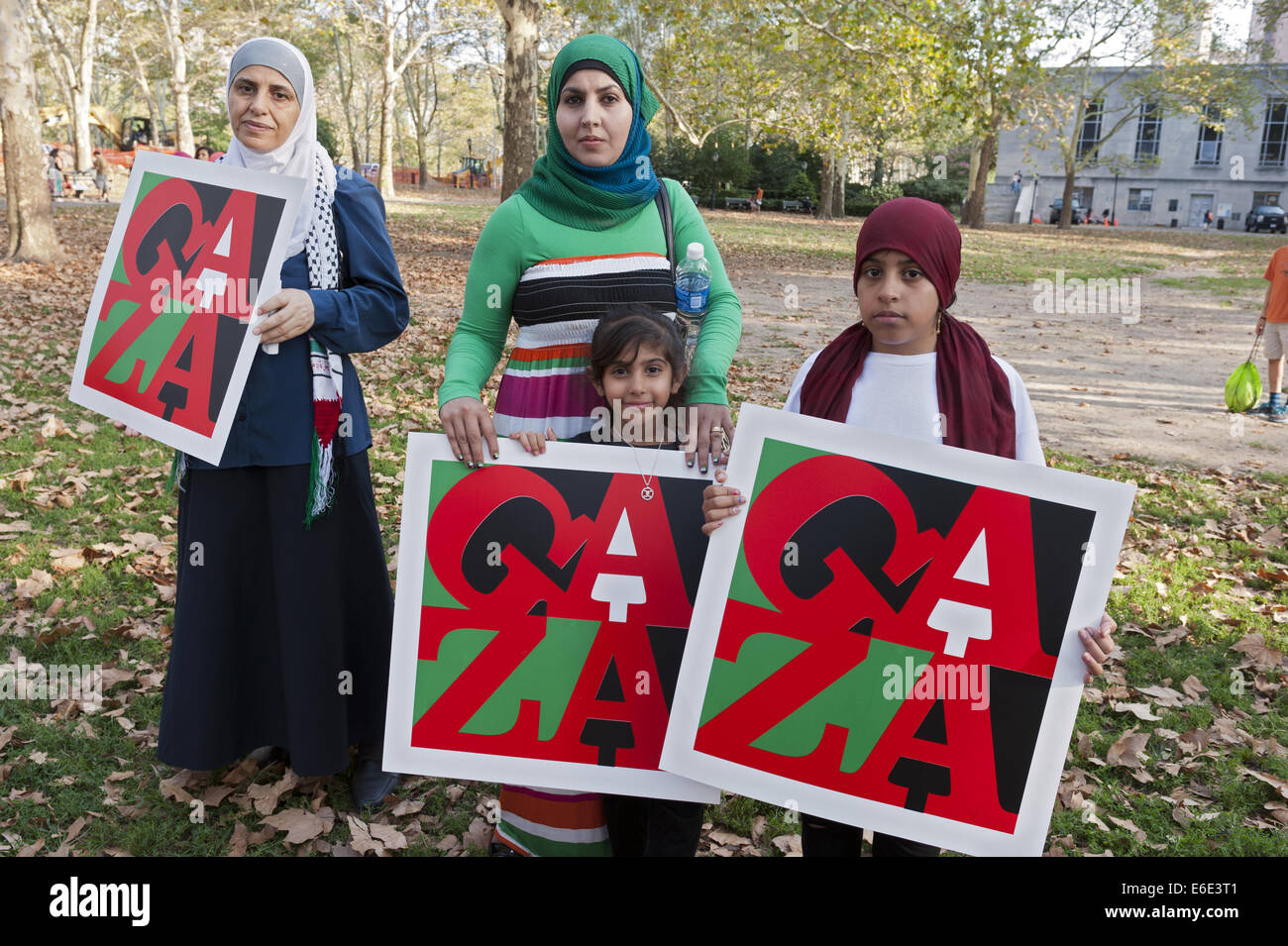Rally for Palestine at Cadman Plaza Park in Brooklyn in New York, Aug.20, 2014. - Stock Image
