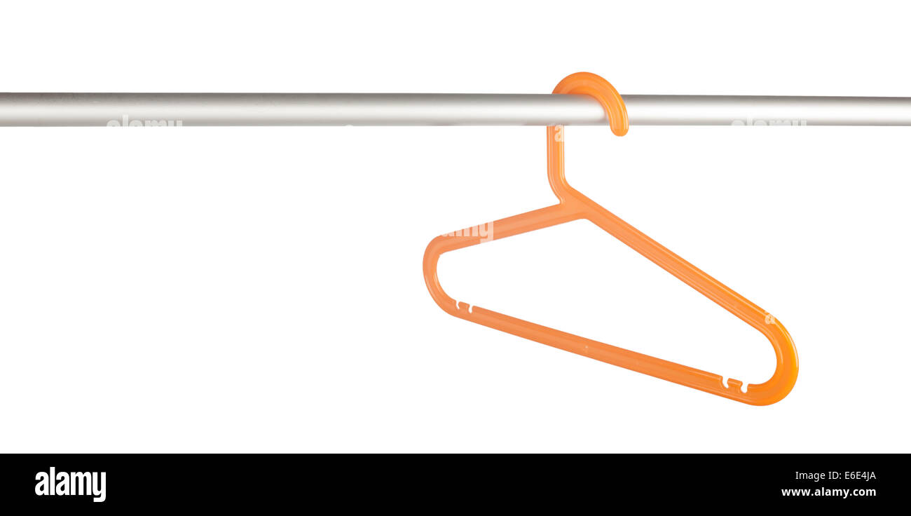 Single clothes hanger on a rack isolated on white background - Stock Image