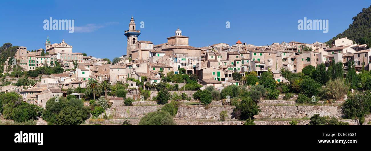 Valldemossa with the Carthusian Valldemossa Charterhouse and the parish church of Sant Bartomeu, Majorca, Balearic Stock Photo