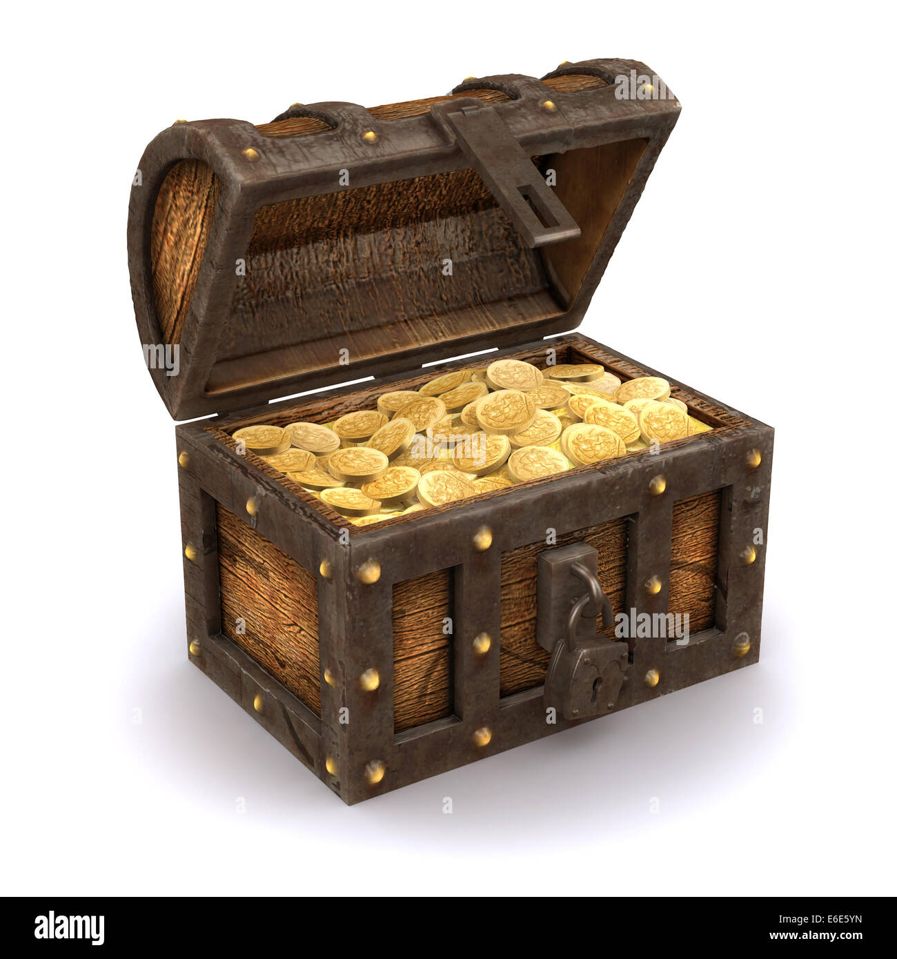 3d render of an open treasure chest full of gold - Stock Image