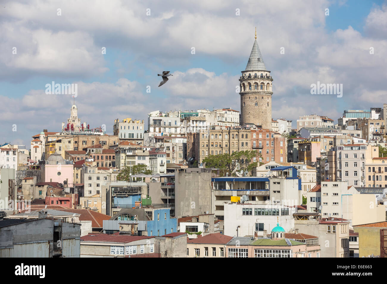 Galata tower and rooftops, Istanbul Turkey - Stock Image