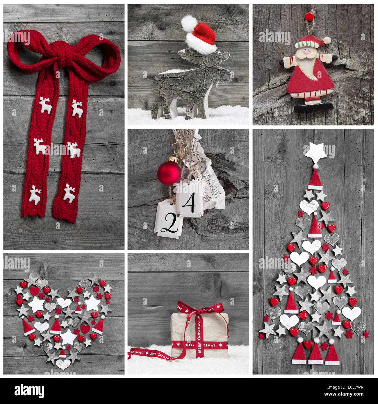 collage of different red white and grey christmas decorations on wood