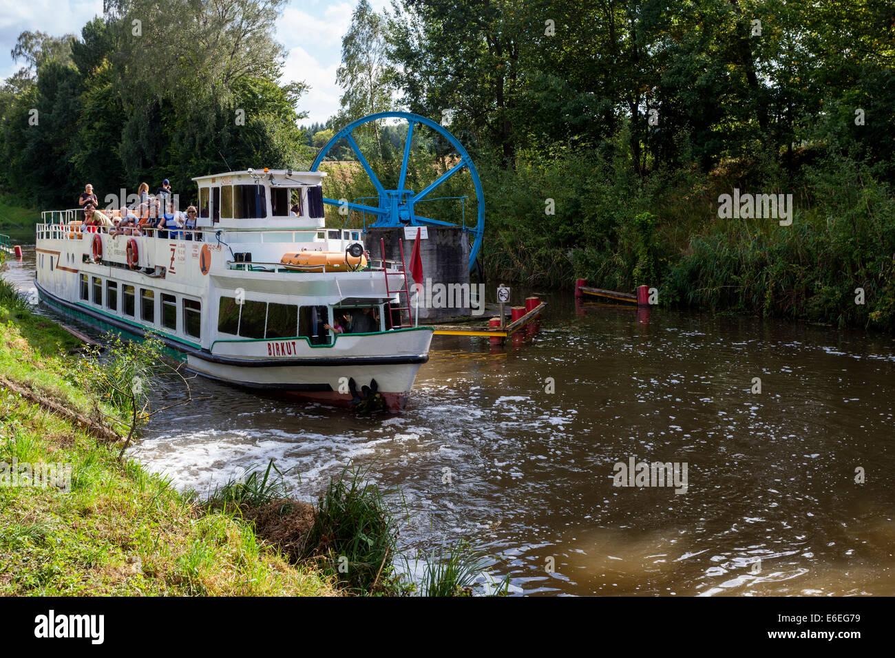 Tourist ship at Elblaski Canal near Elblag Poland - Stock Image