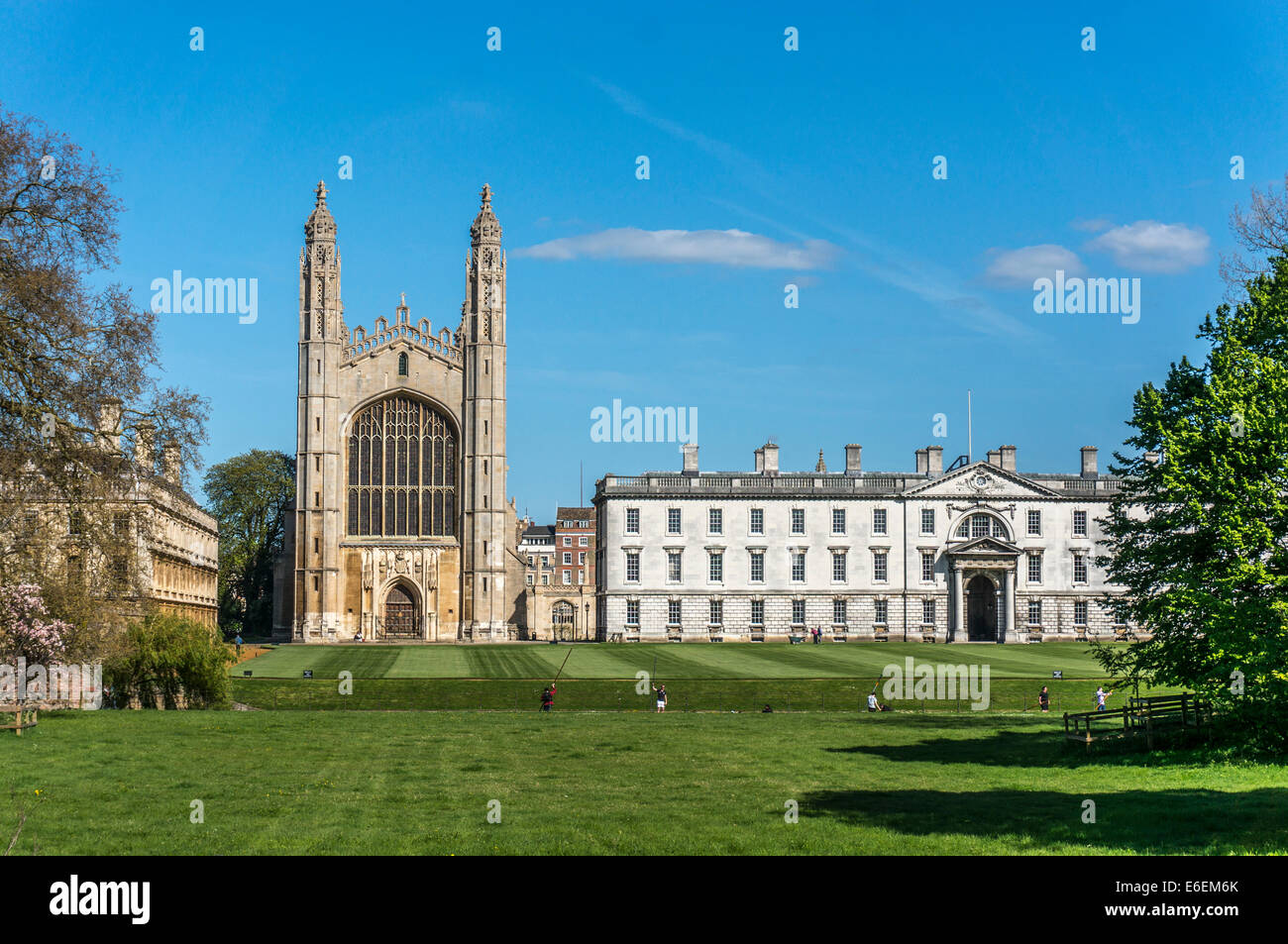 Kings College and Chapel facing the river Cam and its tourist punt boats, university of Cambridge, Cambridgeshire, - Stock Image