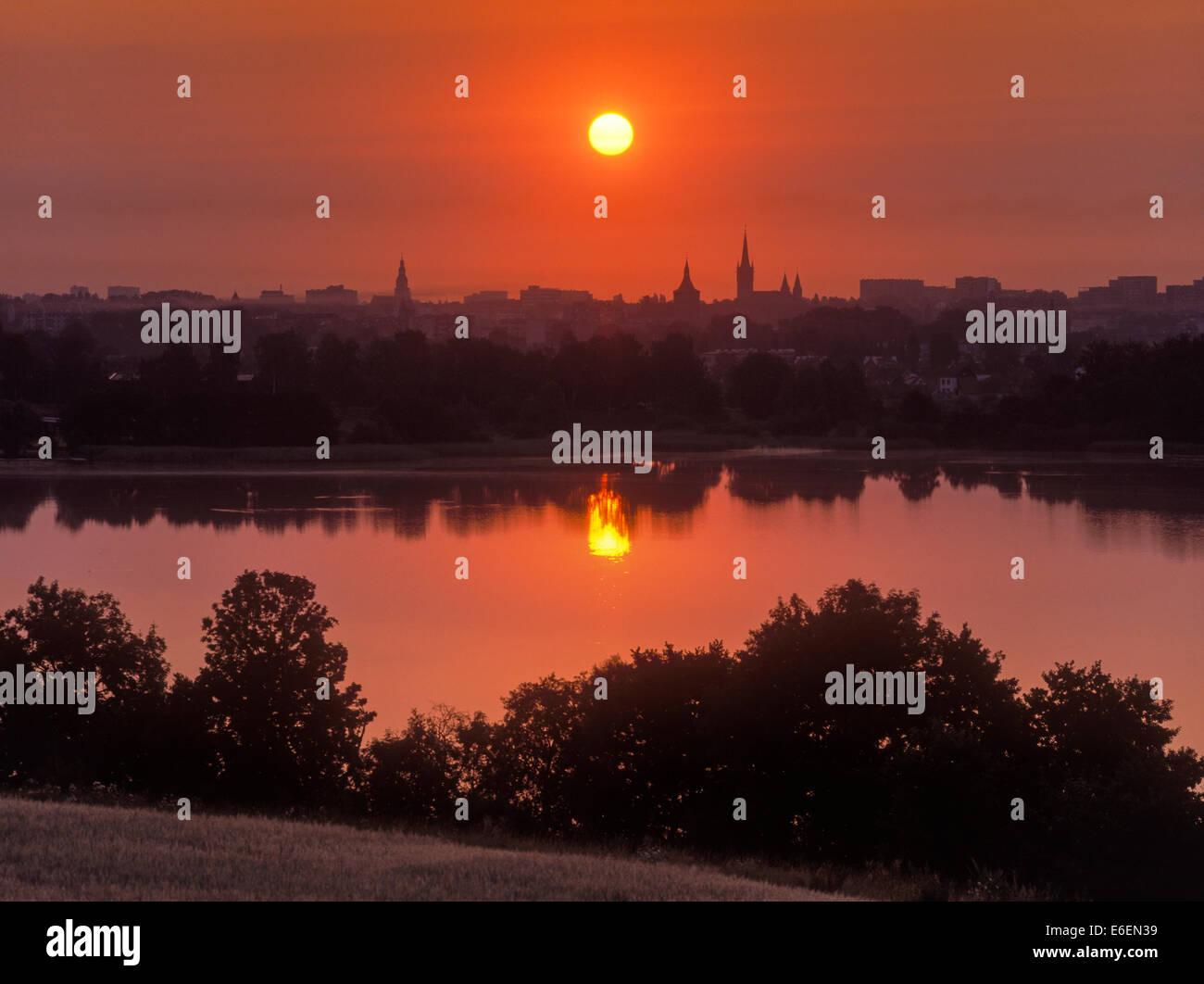Olsztyn panorama from behind lake, Poland - Stock Image