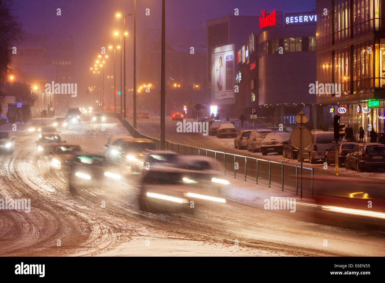 Pilsudski street in Olsztyn Poland - Stock Image