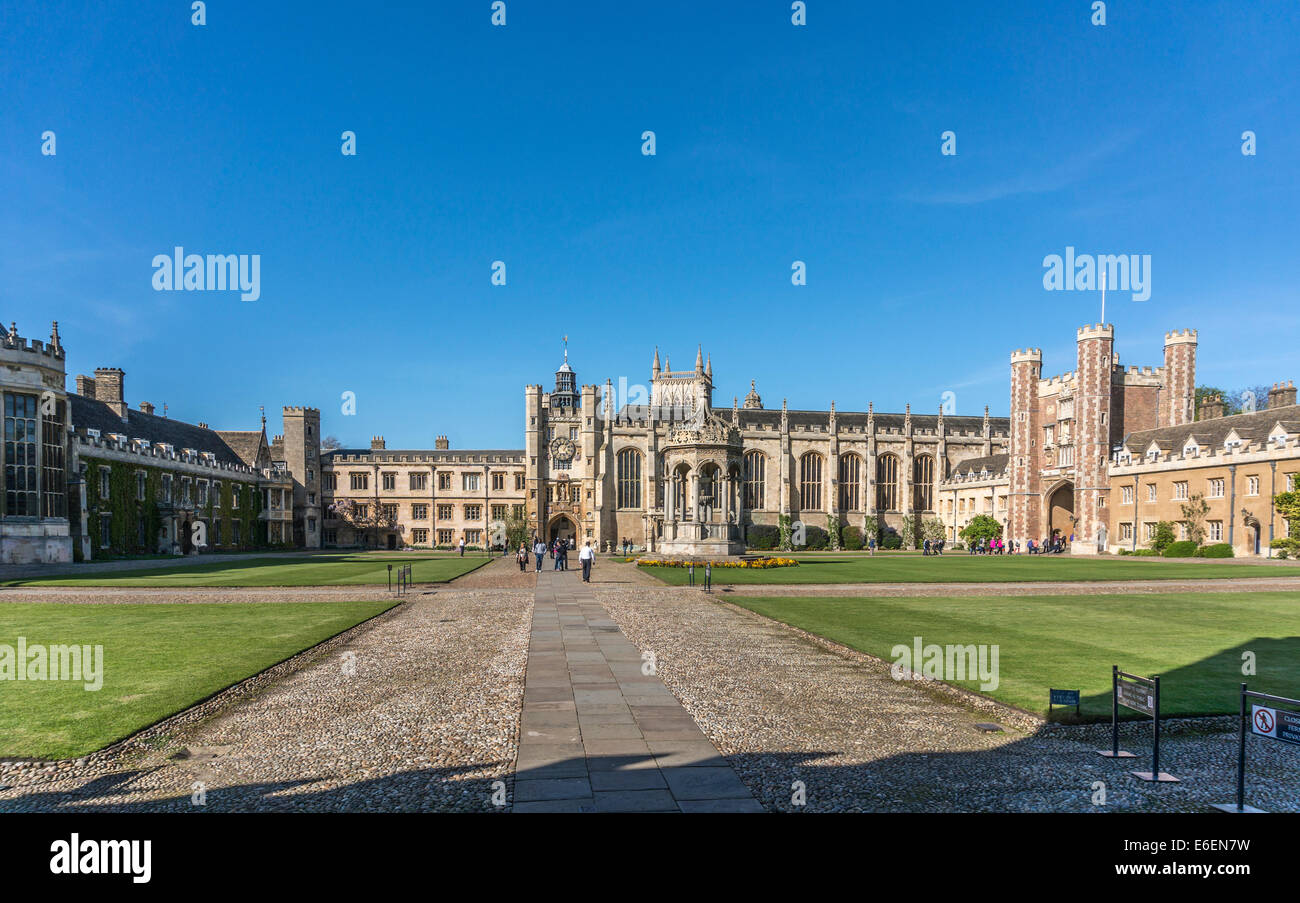 Historic Trinity College and Grand Court, founded by King Henry VIII in 1546, part of the University of Cambridge, Stock Photo