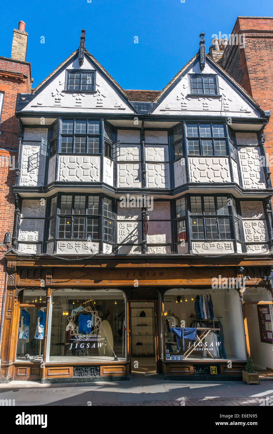 Jigsaw, a clothes shop based in a historic, four storey old building, on Trinity Street, city centre of Cambridge, - Stock Image