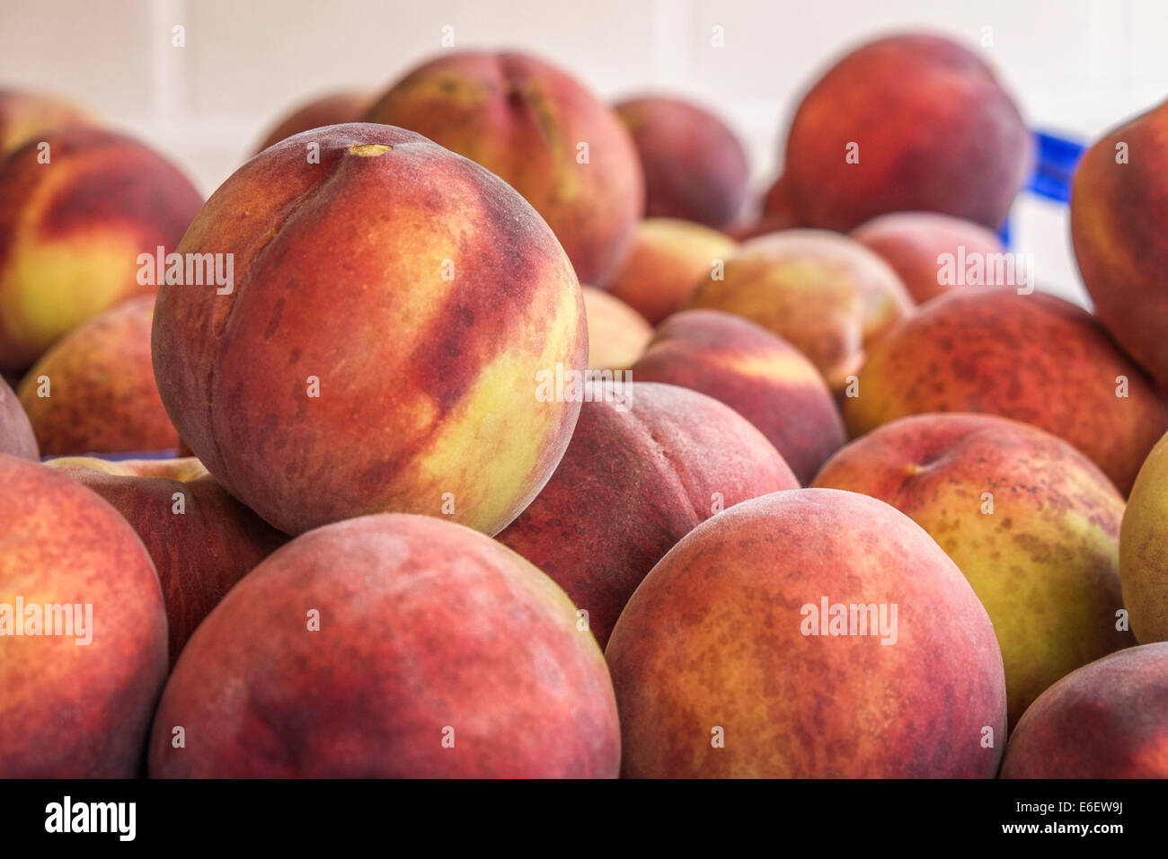 Peaches of Spanish farms during Russian boycott food to UE - Stock Image